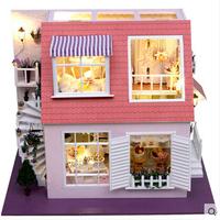 model building kits handmade DIY wood doll house educational toy large size villa Assembling Model dollhouse