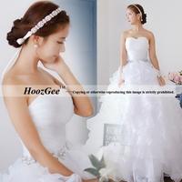 2014 New Fashion In Stock Ball Gown Elegant Ruffled Organza Wedding Dress Sweetheart Bridal Gown Bride Dress HoozGee 2082