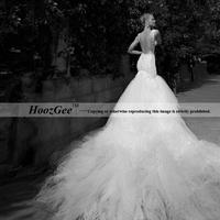 2014 New Fashion In Stock Elegant Mermaid Royal Tain Wedding Dress Deep V-Neck Bridal Gown Bride Dress HoozGee 6701