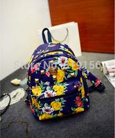 Free Shipping 2014 Women's Rivets Backpacks Bag Newest PU Leather Retro Floral Print Flower Fashion Mini Backpack Shoulder  Bag