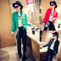 Aim show 2014 winter new female Korean short paragraph Slim solid long-sleeved zipper padded cotton jacket