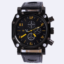 V6 Brand Men Famous Fashion Sports Outdoor Quartz Watches Leather Strap Casual Military Business Gift Wristwatch Free Shipping(China (Mainland))