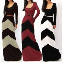 European style women fashion sexy big Fan regular geometric stripes contrast color long-sleeved dress 2014112501