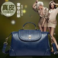 Genuine leather lockbutton 2014 folding fashion shoulder bag messenger bag casual handbag cowhide women's handbag
