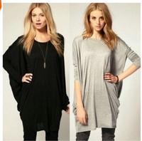 Women Spring Long-sleeved T-shirt shirt bat loose knit T-shirt Blouse 2014112508