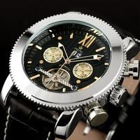 ESS Men's Stainless Steel Case Black Tourbillon Dial Automatic Mechanical Automatic Watch WM334