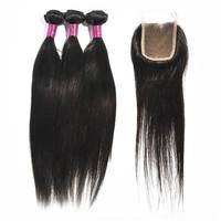 Brazilian Virgin Hair Straight Hair Lace Closures With 3pcs Hair Bundles 6A Cheap Brazilian brazilian straight hair with closure