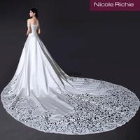 Cii 2015 new trendy hollow out super long tail Boat shoulder bridal wedding dresses plus size bride gown