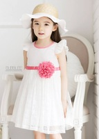 Retail new summer girl white lace dress with hot pink belt and flower ,kids girl party dress free shipping MK-210