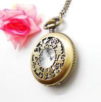 2015 Reloj De Bolsillo Wholesale Hot Sale Bronze Vintage Big Hollow Cut Girl Fashion Carved Quartz Pocket Watch Free Shipping