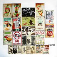 10pcs/lot Cafe/Bread/Bar/Home/Restaurant Decorative Metal Painting Classic Retro Style Posters 20*30cm