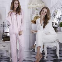 new 2014 vs brand women pink Thickening thermal fleece sleep set  pajamas long sleeve nightgown nightclothes plus size