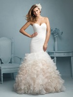 2015 New Arrival Sweetheart Mermaid Organza Wedding Dresses Ruffles Bridal Gown Hot Sale