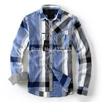 HOTsale  2014 new winter fashion 100%cotton men's plaid long-sleeved shirt Men's high-grade fabrics Shirts   free  shipping