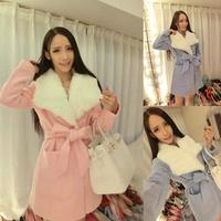 Aim show 2014 new women's winter large lapel design simulation angora wool coat waist coat