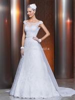2015 Vestido De Noiva White Cap Sleeve Long Wedding Dress Bridal Gown Bride Dresses  Custom Size 2 4 6 8 10 12 14 16 18 20++