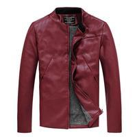 Men's winter leather jacket black warm coat jaqueta motorcycle 2014 red black navy slim fit Free shipping