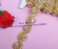 Wholesale 3.5cm Golden Rhinestone Crystal Stone beaded Applique For Wedding Sashes Headbands Wedding Bridal Craft Twist Trim