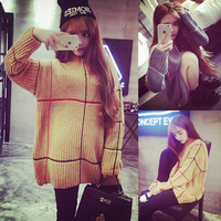 Aim lines show 2014 new winter plaid long -sleeved casual loose sweater coat College Wind