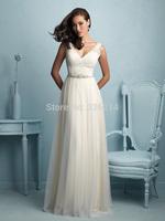 2015 V Neck Backless Sexy Lace Wedding Dress Chapel Train Bridal Gown Bride Dresses Hot Sale
