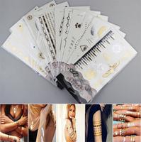 2015 New Style Fashion Body Art Decorate Sticker Temporary Tattoos Bracelets Necklaces Gold Supermodel Beauty Desgin 696