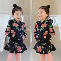 2014 autumn and winter flower girls clothing with a hood fleece sweatshirt short skirt set hotselling princess child sets