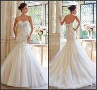 S46 Fashionable vestido de noiva 2015 High Quality Long Mermaid Bridal Gown casamento Sexy Lace Applique Romantic Wedding Dress