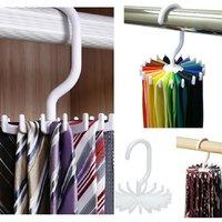 1pc 360 Rotation Belts Rack Adjustable 20 Hooks Rotating Belt Scarf Rack Organizer Men Neck Tie Hanger Holds bathroom hanger