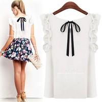 New 2014 Women Blouses Fashion Summer Top Sale Round Neck Chiffon Shirt Bow Clothing Blusas 7 Colors S-XL