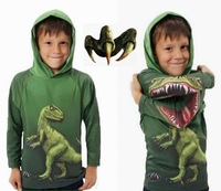 2015 New 3D hoodies for children Kids Super Cool Dinosaur 3D tops cotton long sleeve hooded boys&girl t shirt for age 3-11 years