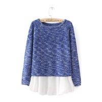 Autumn  new women's fashion loose chiffon stitching head fake two-piece knit sweater 8042