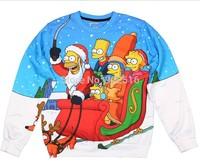 2014 New fashion women/men novelty funny printed CHRISTMAS SIMPSONS 3D Hoodies sweaters Galaxy sweatshirts plus size