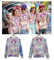 2014 New fashion women/men novelty funny printed Smoking Flowers Frida 3D Hoodies sweaters Galaxy sweatshirts plus size