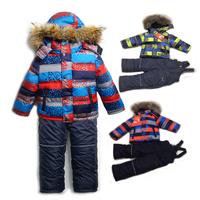 Children winter clothing set Boy's Ski suit sport sets windproof 100% cotton warm coats suit 3pcs set Fur Jackets trousers+vest