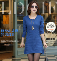 New autumn and winter women Korean version of the long section rendering Crewneck sweater knit sweater dress loose large size