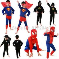 2014 New Kids Costume Spiderman Suppermen Zorro Batman Cosplay Halloween Costume for kids Free Shipping QD152