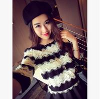 2014 spring and autumn women's shirts striped Fashion eyelash lace patchwork normic stripe all-match 211 chiffon shirt