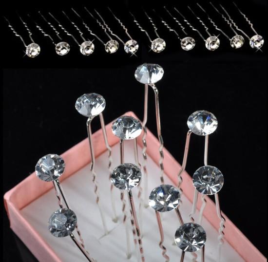 20pcs Clear Crystal Rhinestone Diamante Wedding Bridal Prom Hair Pins Hairpins