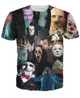 Hot sale New fashion 2014 Mens/Womens Short Sleeve Horror movie 3D Fun T-shirt S-XL Free Shipping