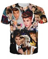 Hot sale New fashion 2014 Mens/Womens Short Sleeve Justin bieber 3D Fun T-shirt S-XL Free Shipping