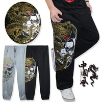 Male hip-hop lovers clothes skull pants hiphop casual sports health pants plus size plus size trousers