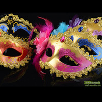 Halloween child mask ball of sidepiece multicolour princess with flowers mask