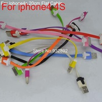 10pcs 20cm Short Colorful Flat Noodle USB 2.0 Data sync Charger cable For iPhone 4s for ipad 2 3 10colors high quality cheap
