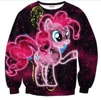 2014 New Women Men My Little Pony print Pullover funny 3D Sweatshirts  Hoodies funny shirt Galaxy sweaters coat Tops
