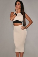 2014 New Women Casual Twinset Skirt and Top T6453 Crop Top and Long Pencil Skirt Set With A High Waist 2 Piece Bodycon Outfits