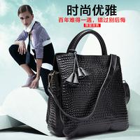2014 cowhide stone pattern shoulder bag fashion handbag vertical women's casual genuine leather handbag big bag