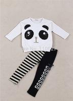 baby fashion sets white panda tshirt + stripe leggings children sleeved sets 5pcs/lot wholesale kids wear sparky suit for girl