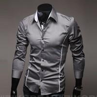 2015 Perfect clipping fashion men shirt men's leisure long-sleeved shirts men M-XXXXL