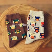 Fashion cotton socks unisex both girl and boy owl animal print casual couples sock 2 Pairs/lot 52282