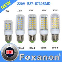 foxanon marca e27 lampade a led 5730 220 v 7 w 12 w 15 w 18 w 20 w led luci del cereale ha condotto la lampadina di natale lampadario illuminazione candela 1 pz/lotto(China (Mainland))